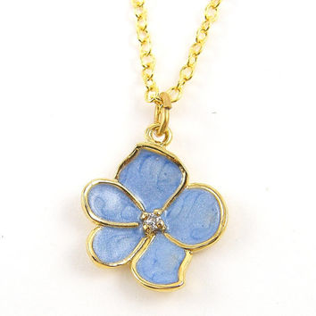 Blue Flower Necklace - Light Blue Enamel Orchid Pendant Charm Gold with CZ 18 Inch Gold Plated Chain