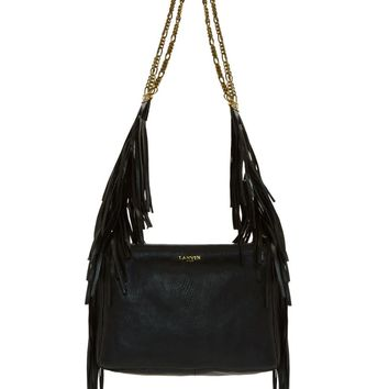 Lanvin Black Leather Tribal Fringe Bag