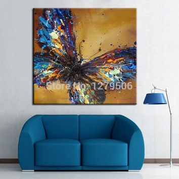 Art Oil Painting Abstract Blue Butterfly No Frame