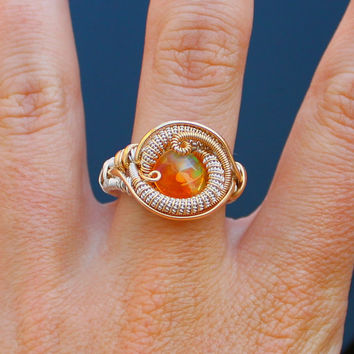 Fire Opal ring / heady wire wrapped ring / wrap ring / handmade jewelry / silver and gold size 10 boyfriend gift orange raw crystal mexican