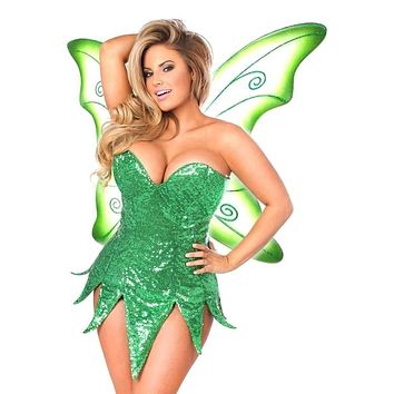 Daisy Top Drawer Green Sequin Fairy Corset Dress Costume