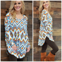 Hidden Temple Teal & Yellow Aztec Top