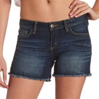 "Refuge ""Boyfriend Cutoff"" Dark Wash Denim Shorts"