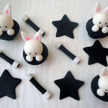 Edible Magic Cupcake Toppers - Fondant Cupcake Toppers - Magic Show