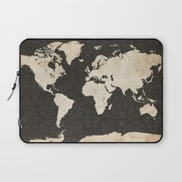 World Map - Ink lines Laptop Sleeve by Map Map Maps