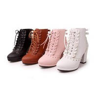 Lolita Lace Up Ankle Booties