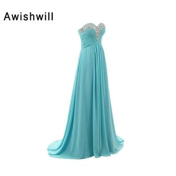 Cutom Plus Size Chiffon Long Prom Dresses 2018 Sweetheart Lace-up Back A Line Floor Length Beaded Women Formal Party Dresses