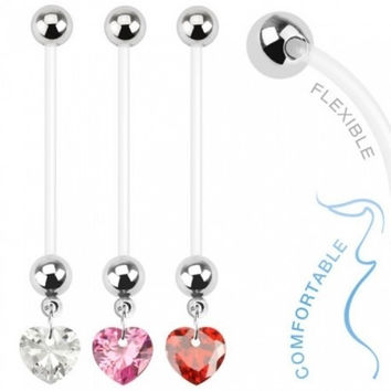 "Bio Flex Pregnancy Maternity Navel Ring Retainer with Heart Dangle [Bioflex/Bioplast - 14GA - 1""] (Color: Red) = 1946258308"