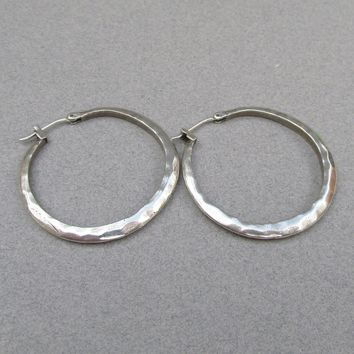 Sterling Silver Hammered Flat Vintage Hoop Earrings