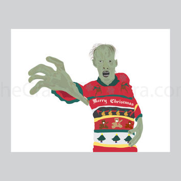 Zombie Walker Printable Christmas Card
