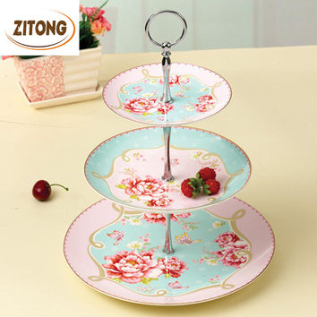 Royal Bone China Ceramic Pastry Dishes And Plates Sets Kitchen Accessories Fruit Tray Printing Gold Rose