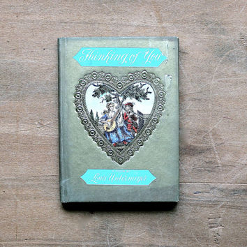 Thinking of You - Vintage Valentine Book - Love - Romance - Gold - Turquoise - Poetry - Cupid - Heart - Valentine's Day