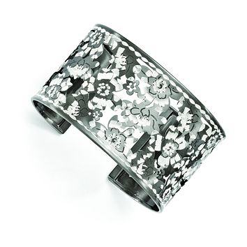 Leslie's Sterling Silver and Ruthenium-plated Diamond-cut Cuff Bangle F524