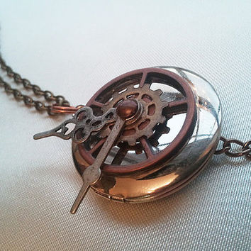 """Steampunk 'Locket Watch' with 32"""" Antiqued Gold Colored Chain / Pocket Watch style Locket with Gears & Clock Parts"""