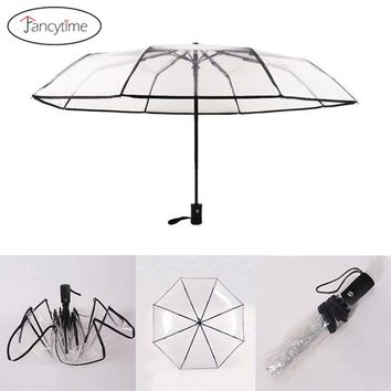 New Arrive Fully Automatic Three Folding Umbrella Rain Women Windproof Ladies Wedding Sunshade Clear Transparent Umbrellas Auto