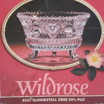 Anna Hutte Bleikristall Crystal Wildrose 3 Footed Bowl NOS Lead Crystal Bowl