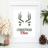 Christmas Art Print, Christmas Cheer, Camo Art, Deer Antlers, Christmas Deer,5x7, 8X10, 11x14 Christmas Wall Art, Camo Christmas Decor