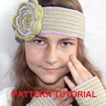 Crochet headband Pattern PDF Tutorial,Girl's Headband,hippie hippy,ear warmer,baby,teenagers,Instant download,Instruction,Patterns,Scheme