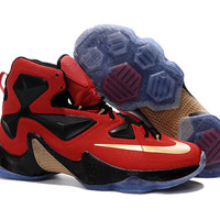 Men's Nike LeBron James XIII 13 Away Red Black Gold