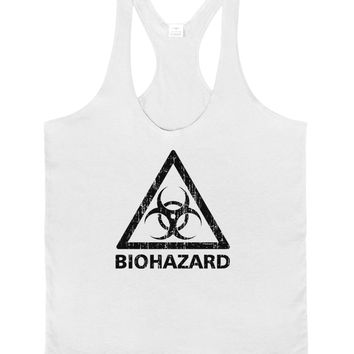 Biohazard Sign Distressed Mens String Tank Top