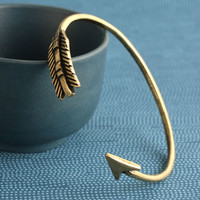 Geranium Brass Ox Plated Arrow Cuff