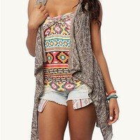 Aztec Cascading Sleeveless Wrap