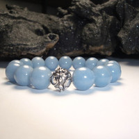 Angelite 12mm Stretch Bracelet with a Bali Sterling Silver Accent Bead/Grey Bracelet/Gift for Her