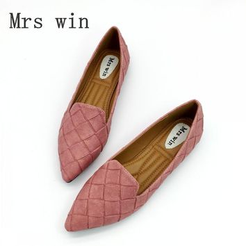 Vintage Weave Style Spring Autumn Women Casual Loafers Pointed Toe Slip On Flats For Woman Ladies Single Shoes Plus Size Gray