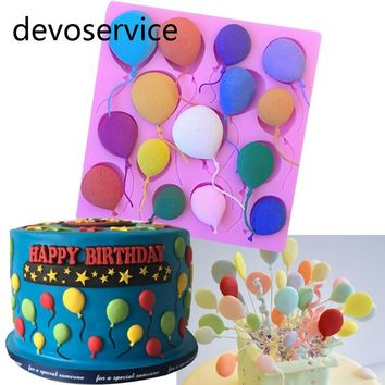 DIY Balloon Cake Border Fondant Cake Chocolate Silicone Mold Birthday Cake Decorating Tools Gum Paste Cupcake Candy Clay Molds