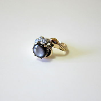 Rare Victorian Black Star Sapphire Clear Topaz 10KT Yellow Gold and Silver Snake Ring