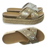 Delta Rhinestone Crystal Slipper Sandal w Espadrille, Cork Footbed & Shark tooth