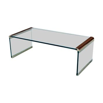 Pre-owned Pace Vintage Glass Waterfall Coffee Table