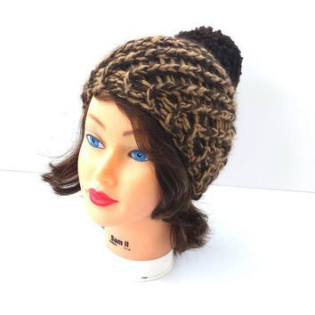 Beautiful Swirl chunky hat in mixed tan and brown colors, decorated with brown pompom, warm and super soft beanie, winter accessory.