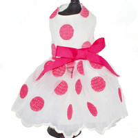 Bella's White or Hot Pink Polka Dot Harness Dog Dress