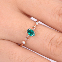 0.45ct emerald ring lab emerald engagement ring 4x6mm oval cut green stone diamond  band 14k rose gold anniversary ring custome jewelry