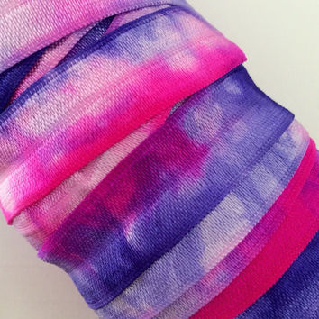 "Tie Dye FOE // 5/8"" Tie Dye Fold Over Elastic - Fuchsia Violet White - Hair Accessory Supplies - Hair Ties - Headbands"