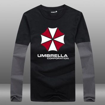 Mens Casual Resident Evil Umbrella Corporation Logo Long Sleeve Cotton O-Neck Printing Pattern Contrast Color T-shirts Tops