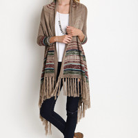 STRIPED FRINGE LONG CARDIGAN