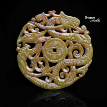 Best carved jade pendant products on wanelo carved dragon and phoenix nephrite jade pendant highly detailed carved mythological creatures chinese ornate pendant aloadofball Image collections