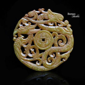 Carved Dragon And Phoenix Nephrite Jade Pendant. Highly Detailed Carved Mythological Creatures Chinese Ornate Pendant
