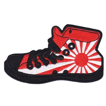 Rising Sun Skater DJ Shoe High Top Embroidered Iron-On Patch 10cm
