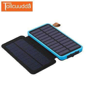 Tollcuudda LED Solar Power Bank Solar Charger Portable Charger External Battery Holster Poverbank For Iphone 5 6s All Phones