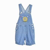 Vintage 90s Denim Sunflower Overalls / Short Overalls - women's medium
