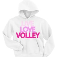 Adult Unisex Live Love Volley Hooded Sweatshirt S-XXL