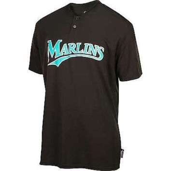 FLORIDA MARLINS Majestic Cool Base TWO BUTTON Officially Licensed MLB Baseball SHIRT JERSEY SIZE-ADULT SMALL