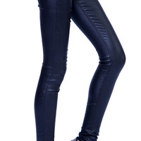 24 Hrs by Lip Service Black Foil Stretch High Waisted Jeans Pants