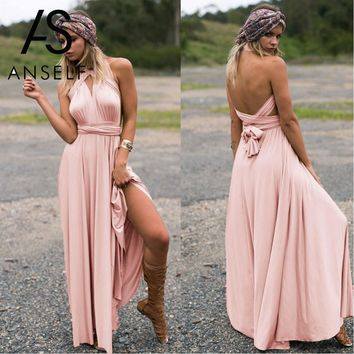 Anself Sexy Long Dress Bridesmaid Formal Multi Way Wrap Convertible Infinity Maxi Dress Pink Hollow Out Party Bandage Vestidos