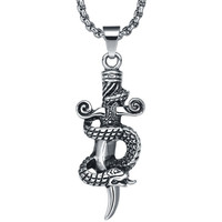 Stainless Steel Gothic Snake Coil Sword Pendant Necklace