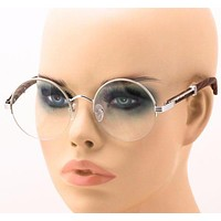 Mens CLASSY Style Clear Lens Wood Buffs Vintage Round Semi Rimless EYE GLASSES