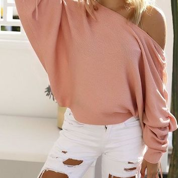 Pink Irregular Asymmetric Shoulder Lace-Up Ruched One-Shoulder Dolman Sleeve T-Shirt
